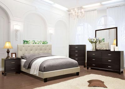 Leeroy Ivory California King Platform Bed w/Espresso Dresser, Mirror, Drawer Chest, and Nightstand