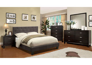 Leeroy Dark Grey California King Platform Bed w/Espresso Dresser, Mirror, Drawer Chest, and Nightstand