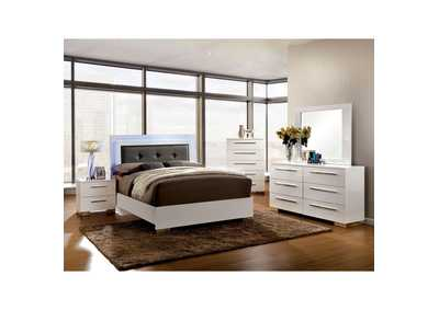 Clementine White Lacquer Queen Platform Bed w/Dresser, Mirror, Drawer Chest, and Nightstand