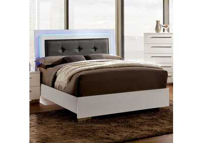 White Lacquer Clementine Eastern King Platform Bed w/LED Lights