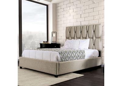 Deirdre Beige Upholstered Queen Platform Bed