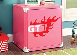 Power Racer Pink Metal Nightstand