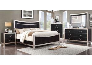 Liza Black U0026 Silver Faux Crocodile Curved Panel California King Platform Bed  W/Dresser
