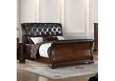 South Yorkshire Brown Cherry Eastern King Upholstered Sleigh Bed w/Dresser and Mirror