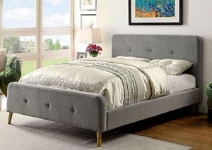 Barney Gray Queen Upholstered Platform Bed