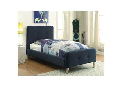 Barney Navy Twin Upholstered Platform Bed