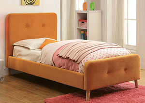 Barney Orange Twin Upholstered Platform Bed