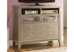 Adeline Silver Crocodile Media Chest w/Mirror Panel