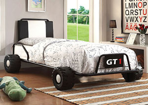 Power Racer Black Race Car Twin Bed