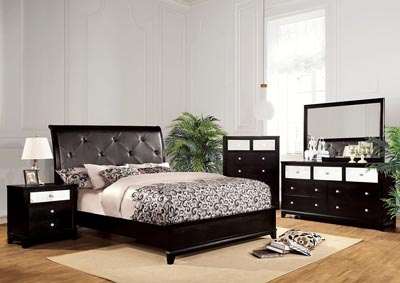 Bryant Black Eastern King Platform Bed w/Faux Crocodile Panel