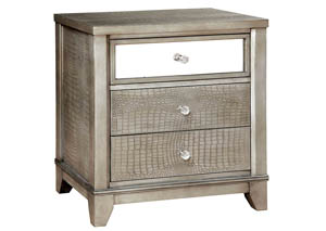 Bryant Silver Faux Crocodile Nightstand w/Mirror Panel