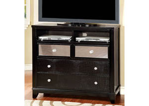 Bryant Black Faux Crocodile Media Chest w/Mirror Panels