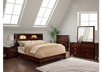 Gerico I Brown Cherry California King Platform Bed