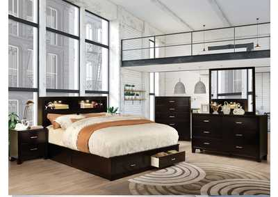 Gerico II Espresso Eastern King Platform Storage Bed