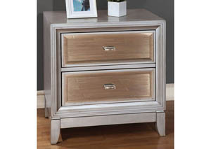 Golva Silver Nightstand w/Gold Mirror Panels