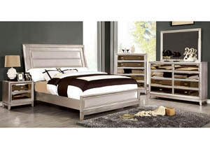 Image for Golva Silver Eastern King Upholstered/Padded FB Platform Bed w/Dresser and Mirror