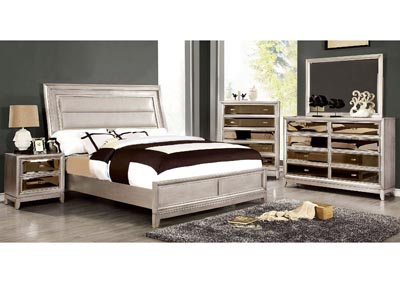Golva Silver Upholstered Platform Queen Bed