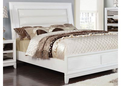 Golva White Upholstered California King Panel Bed