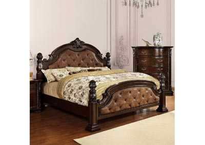 Monte Vista I Dark Brown/Brown Cherry California King Upholstered Low Poster Bed w/Dresser and Mirror