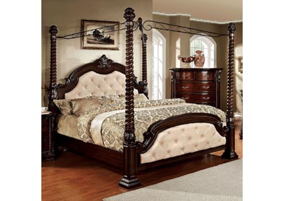 Monte Vista II Ivory/Brown Cherry Queen Upholstered Canopy Bed w/Dresser, Mirror, Drawer Chest and Nightstand