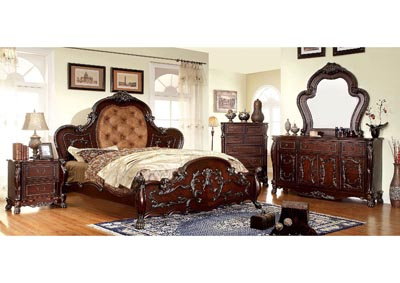 Castlewood Cherry Carved-Filigree Queen Platform Bed w/Dresser and Mirror