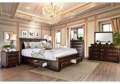 Brandt Brown Cherry California King Storage Bed