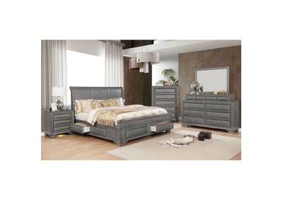 Brandt Gray California King Storage Bed