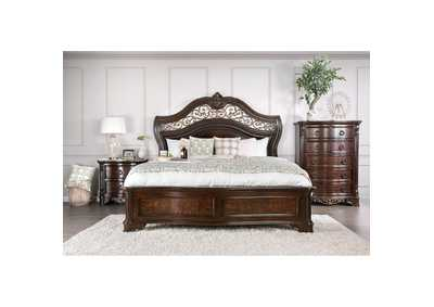 Menodora Brown Cherry Eastern King Platform Bed w/Dresser and Mirror