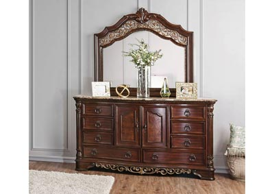 Menodora Brown Cherry Dresser w/Mirror