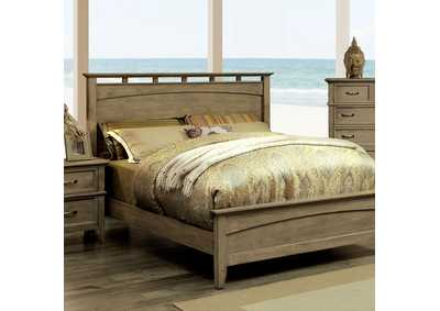 Loxley Weathered Oak Eastern King Low Profile Panel Bed w/Dresser and Mirror