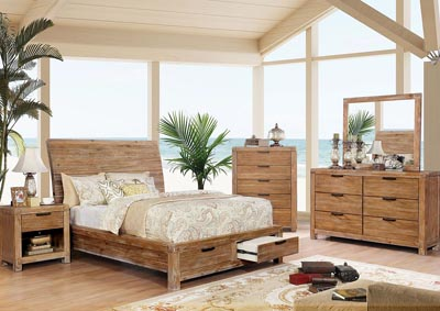 Dion Weathered Light Oak California King Storage Bed