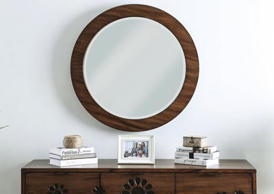 Amarantha Brown Round Mirror