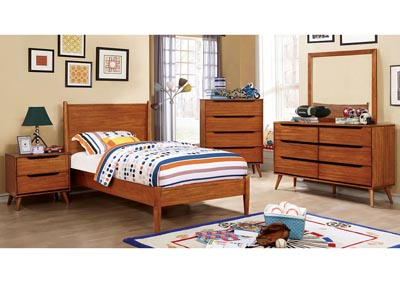 Lennart I Oak Twin Platform Bed w/Dresser and Mirror