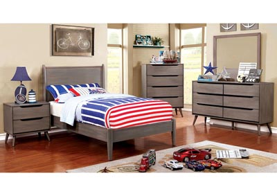 Lennart I Gray Twin Platform Bed w/Dresser and Mirror