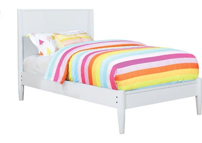 Lennart II White Twin Platform Bed