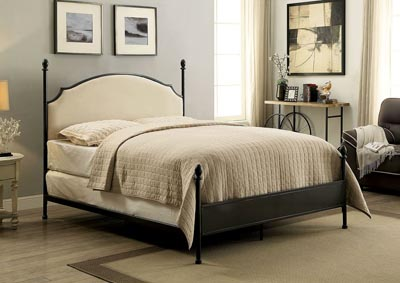 Sinead Gun Metal Queen Upholstered Poster Bed