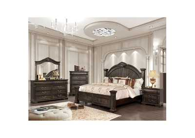 Genevieve Distressed Walnut Queen Low Poster Bed w/Dresser and Mirror