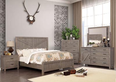 Brenna Gray Queen Panel Bed w/Dresser and Mirror