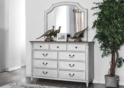 Hesperia Antique White Dresser w/Mirror