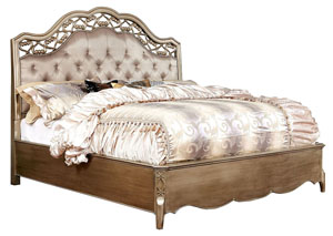 Capella Brushed Gold Queen Platform Bed
