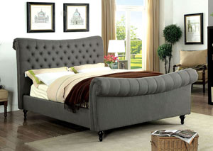Galene Gray Upholstered Twin Sleigh Bed