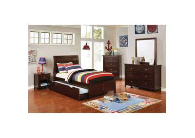 Brogan Brown Full Sleigh Bed w/Trundle