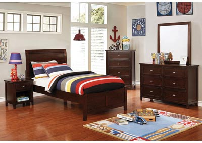 Brogan Brown Cherry Full Sleigh Bed w/Dresser and Mirror