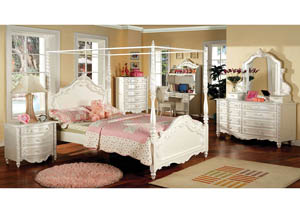 Victoria Pearl White Full Canopy Bed