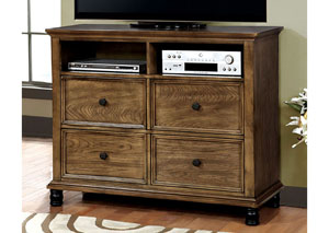 Mcville Dark Oak Media Chest w/Casters