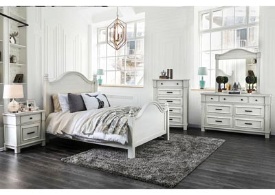 Daria Antique White Camelback Eastern King Panel Bed w/Dresser and Mirror