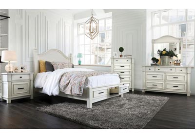 Daria Antique White Camelback Queen Storage Bed w/Dresser and Mirror