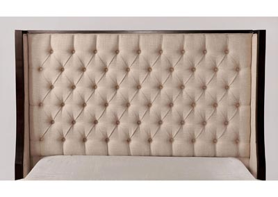 Camille Beige/Espresso Upholstered Full Bed,Furniture of America