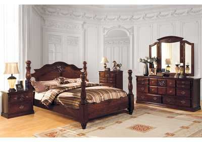 Tuscan II Dark Pine California King Poster Bed w/Dresser and Mirror