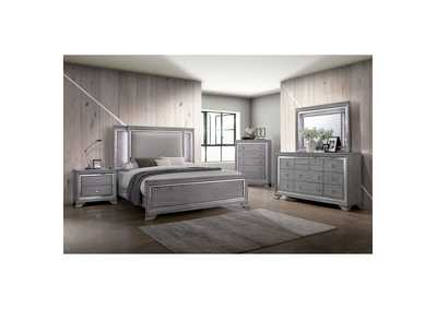 Alanis Light Gray Mirror/LED Trim Eastern King Panel Bed w/Dresser and Mirror
